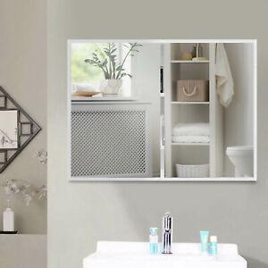 Bathroom White Cabinet Storage Mirror Double Doors Shelf Cupboard Wall Mounted