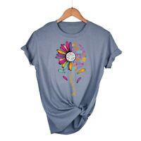 Women's T-Shirt Nurse Sun Flower Funny Graphic Shirt Short Sleeve Cotton Top Tee