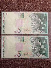 (JC) 2 pcs RM5 11th Series Signed Zeti (Paper) BG 7599383 - 384 - UNC