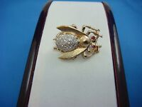 """ANTIQUE 14K YELLOW GOLD """"FLY"""" BROOCH WITH GENUINE DIAMONDS AND RUBIES, 8 GRAMS"""