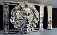 "Solid Sterling Silver ""The Lion"" Belt Buckle complete with Belt Keeper"