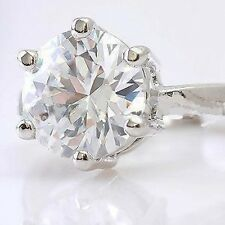 18K WHITE GOLD ON SILVER HUGE 3.87 CARAT SIMULATED MOISSANITE RING SIZE 6 & 3/4