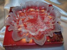 MIKASA Christmas Story Crystal Bon Bon Tray with Box Frosted Ruffled Edge 9 3/4""