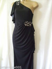 NEW £60 *** SALE***JANE NORMAN SIZE 8, BLACK ONE SHOULDER ANGEL SLEEVE GEM DRESS