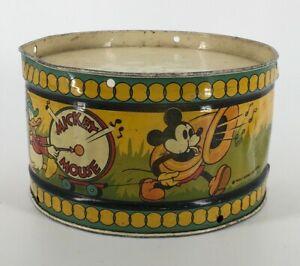Vintage 1930s Ohio Art Co. Mickey Mouse Tin Litho Drum Walt Disney