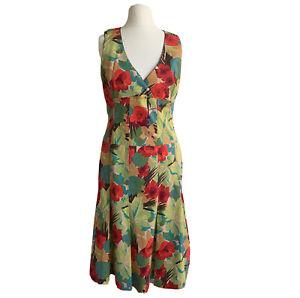 Karen Millen Dress Size 8 Green Orange Fit & Flare Cotton Sleeveless VTG Tea