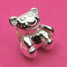 Genuine 925 Solid Sterling Silver Teddy Bear Charm Bead European Bracelet Fit