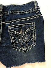 Nine West Womens Denim Shorts 8 Jean Distressed Stretch Cut Off Frayed Bling