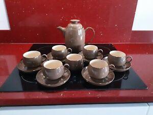 Denby Pampas Tea/coffee set 6 cups & saucers tea/ coffee pot sugar bowl vgc 1st