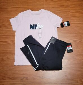 New! Girls Nike 2-Piece Pink/Black Outfit Capris/Shirt Retail $48 Sz Large L