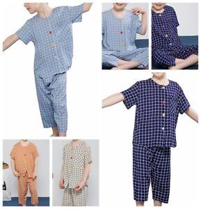 Kids Boys Girls Pajamas Sleepwear Round Neckline Top+Cropped Trousers Nightwear