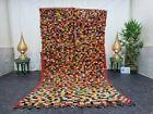 "Moroccan Handmade Vintage Rug 5'x9'1"" Berber Checkered Multicolor Wool Carpet"