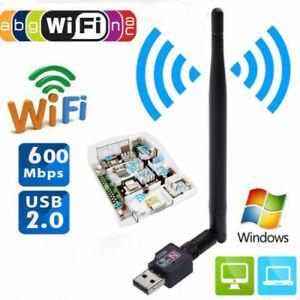 Mini Clé USB 2.0 Wifi Adaptateur LAN 802.11 n/g/b Réseau Sans Fil Antenne 600Mbs