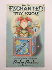 Vintage-Look Visit The Enchanted Toy Room Jack In The Box Advertising Tin Sign!