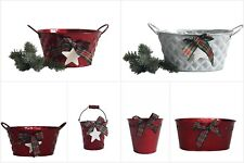 Metal Christmas Tin Planters with Tartan Ribbon Bow Red White Star + GIFT