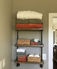 Industrial Three Tier shelf 2x10 Wood (Pick your own stain)