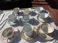 Mismatched China Tea Cups and Saucers ~ Lot of 9 ~ Tea Party ~ mixed patterns