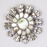 "Silver Sunburst Mirror 7.8"" from Peru, Ornate Accent Wall Mirror""Cuzco Sun, Peru"