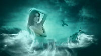 Home Wall Art Modern Deco Fantasy Mermaid Oil painting Picture Printed on canvas