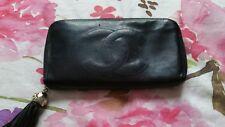 Portefeuille/Wallet/Purse/Porte-monnaie - Chanel - vintage - cuir - noir - Rare
