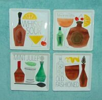 Set of 4 Crate & Barrel Cocktail Recipe Square Appetizer Plates 6 1/4 inch
