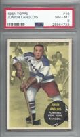 1961 Topps hockey card #46 Junior Langlois, New York Rangers graded PSA 8