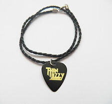 """THIN LIZZY guitar pick plectrum braided LEATHER NECKLACE 20"""""""