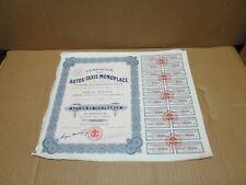 COMPAGNIE DES AUTOS TAXIS MONOPLACE action de 100 francs 1923