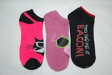 b02eb56b5f6 Womens Ankle Socks THREE PAIR LOT Fits 4-10 Shoe Size BRIGHT PINK Black  BACON