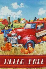 Hello Fall Farm Truck Pumpkin Sunflower Scarecrow Mini Window Garden Yard Flag N