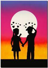 "BANKSY STREET ART CANVAS PRINT love hurts 24""X 16"" stencil poster sunset"