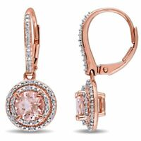 Rose Gold Plated Round Halo Morganite Studs Silver Earrings