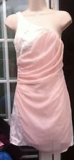 BNWT - MADAM RAGE PALE PINK & WHITE TRIM CHIFFON OUTER SHORT DRESS - SIZE 8