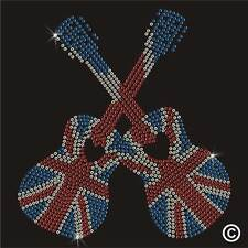 Guitar Union Jack Heart Music Rhinestone Diamante Transfer Iron On Motif Hotfix