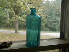 "Pretty Teal Rumford Chemical Works Large Size 7 3/8"" 8 Sided Medicine Bottle"