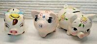 VTG set of 3 Ceramic Porcelain Piggy Pig Bank Coin Japan (1 is Norcrest)