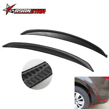 2Pcs 250mm Universal PU Carbon Fiber Wheel Eyebrow Lip Car Mud Guard Protector