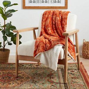"Pumpkin Floral Rustic Plush Throw Blanket 60"" x 50"" Sherpa Reverse Fall Autumn"
