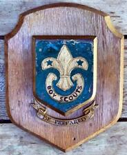 More details for c1940 oak vintage boy scout crest shield plaque