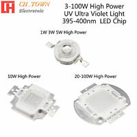 1PCS 3w 5w 10w 20w 30w 50w 100w UV Violet 395-400nm High Power LED Chip Light