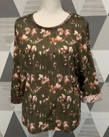 Zara Women's Size L Green Floral Scoop Neck 3/4 Sleeve Top Blouse #4C48