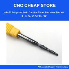 6P R0.25-R2.0mm D6*75 HRC55 Tapered Ball Nose CNC Bit Taper End Mill cone cutter