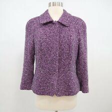Escada Blazer Jacket Womens US8 D38 Wool Leather Tweed Purple Classic