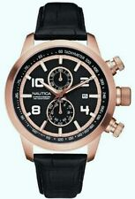 NAUTICA Men's NCT 400 Chronograph Watch A20051G Black Leather Strap