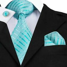 USA Woven Aqua Stripe Mens Tie Set Blue Green Silk Necktie Wedding Handkerchief