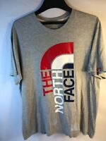 The North Face Logo T Shirt Gray Red White Blue Mens Size Large