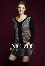 NWT NIC + ZOE WOMEN SzXL BURSTING BRAID V-NECK KNIT SWEATER IN MULTICOLOR $144.