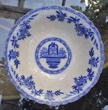 Victorian Bourne & Leigh Flow Blue Delph Large Bowl Burslem England