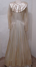 VINTAGE Champagne Satin Drop Waist Pleated Panel Loop Button Wedding Gown S
