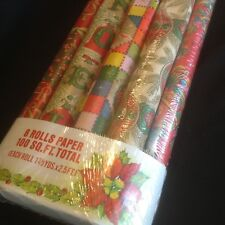 Vintage Christmas Wrapping Paper 8 Rolls 100 Sq Ft Total K-Mart USA Sealed Cute!